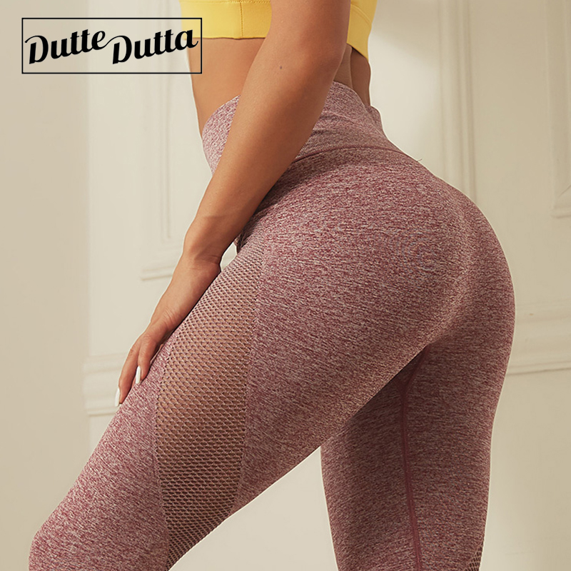 Duttedutta Mesh Patchwork Yoga Pants For Womens Running Fitness Sports Leggings Gym Sport Trouser Leggins Female Running Tights