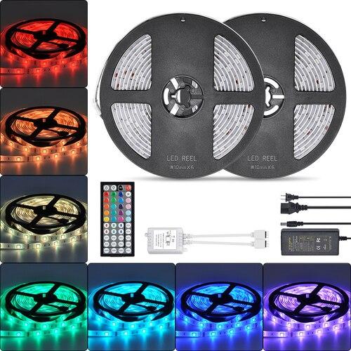 Ruban ruban Non IP65 étanche 10 M Led bande lumière 20 couleurs clé télécommande 5050RGB contrôleur pour salon