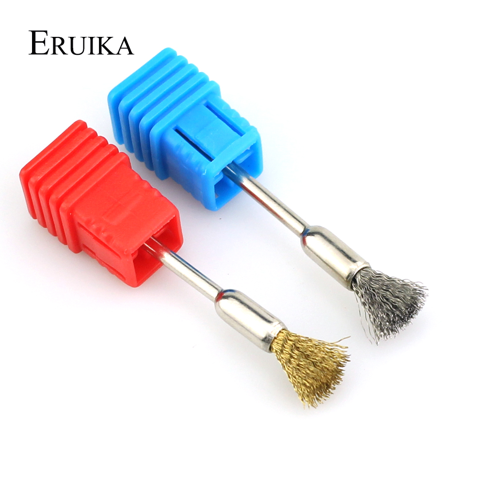 ERUIKA 1pc Golden Copper Wire Nail Drill Cleaning Brush For Electric Manicure Drills Bit Cleaner Portable Tool Silver Steel Wire