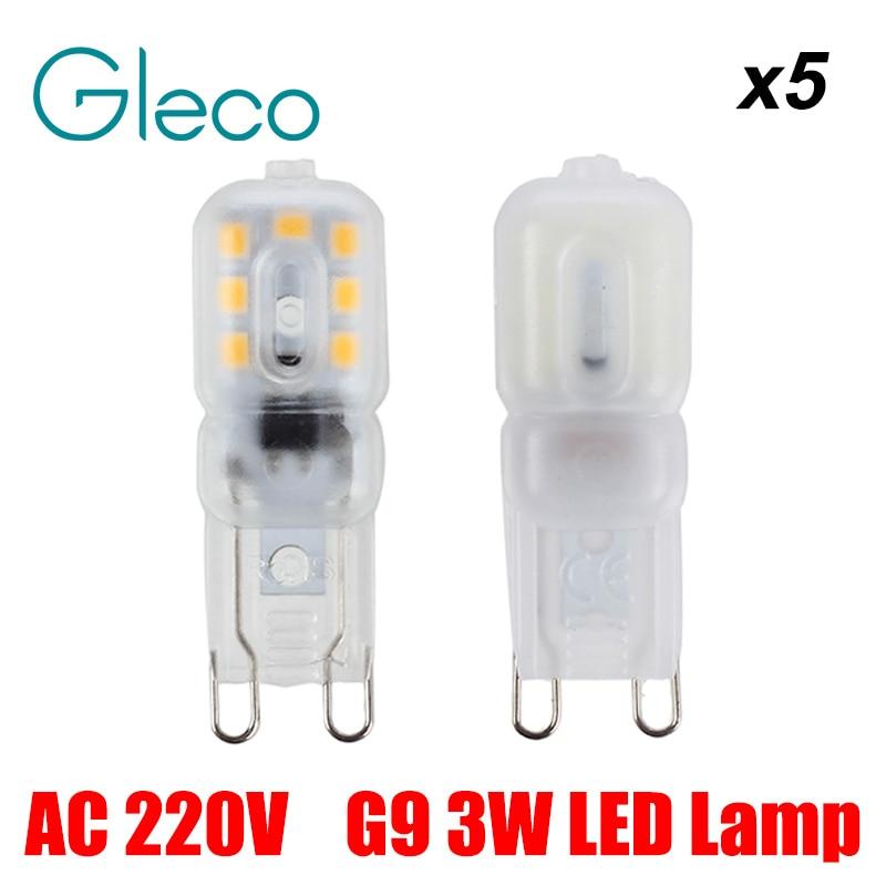 5PCS AC220V G9 LED Lamp 3W SMD2835 Lampada LED G9 Bulb Milky/Transparent 360 Beam Angle Lights Replace Halogen Crystal Spotlight 5x g4 ac dc 12v led bulb lamp smd 1505 3014 2835 2w 3w 4w replace halogen lamp light 360 beam angle luz lampada led