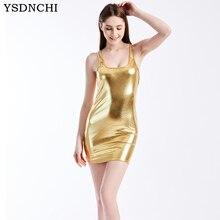 YSDNCHI Punk Rock Sexy robe moulante femmes en cuir robes Mini sans manches tenue de club noir or robe de grande taille fête dames