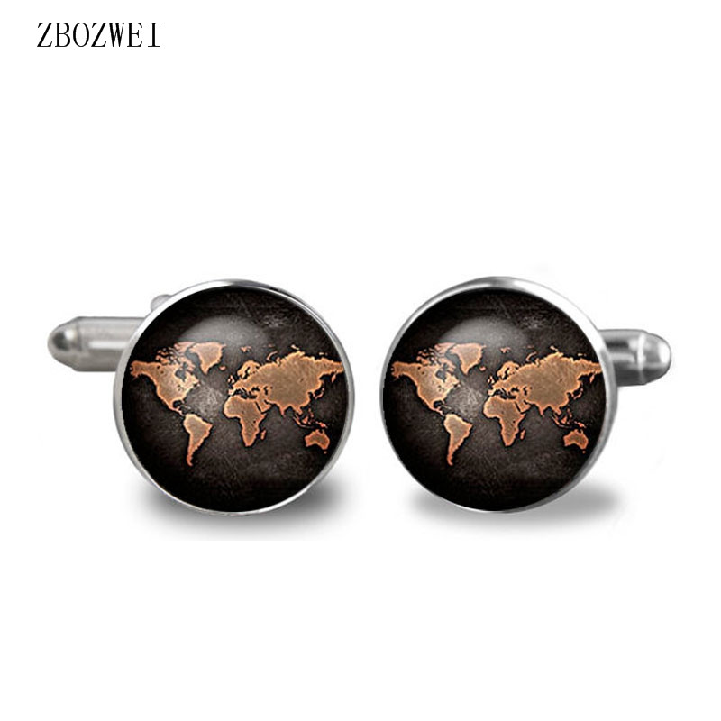 2018 Black Earth World Map Cufflinks Plated Vintage World Map Cuff Man and Woman Accessories Antique Vintage Bronze stylish hemming wide striped and world map printing voile scarf for women