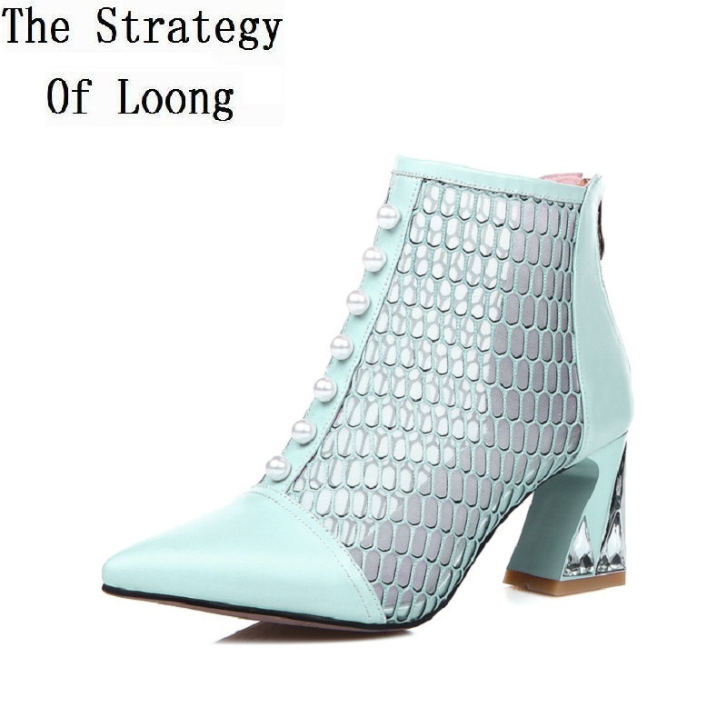 Genuine Leather Pointed Toe Grenadine Thick Mid Heel Pearl Rhinestone Women Summer Ankle Sandals Boots Plus