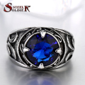 Steel soldier New Arrival blue stone Fashion Stainless Steel Jewelry exquisite titanium steel men ring BR8-270