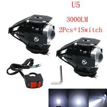 2X125 Watt motorrad scheinwerfer led motorrad scheinwerfer mit schalter cree LED chip driving lauf nebel fleck weiß licht wasserdichte u5