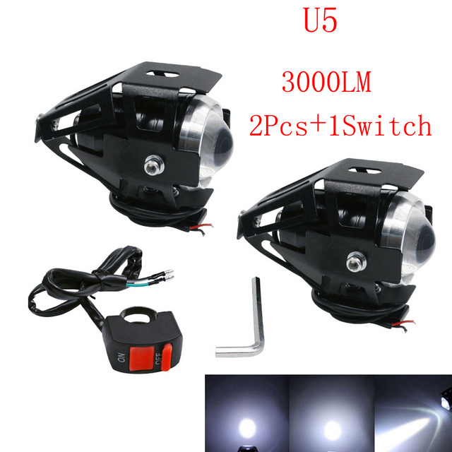 2X 125W motorcycle headlight led motobike spotlight with switch cree LED chip driving running fog spot white light Waterproof u5