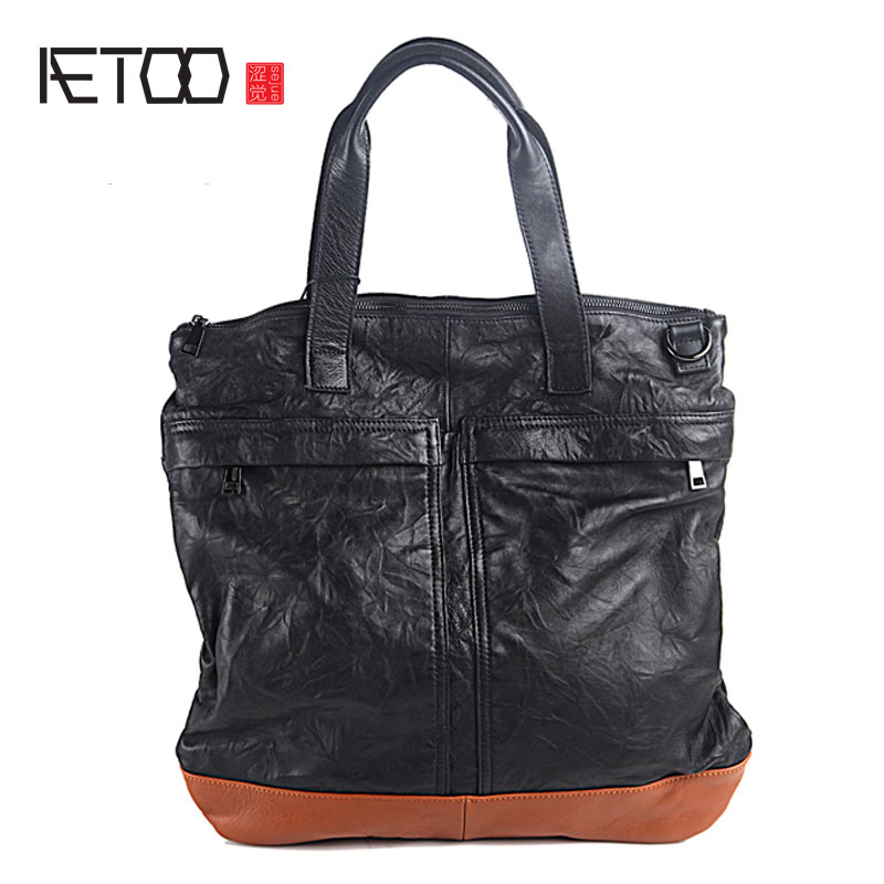 AETOO Pure leather men and women casual handbag leather fashion retro shoulder Kuang Yao back male bag female package simple tid aetoo europe and the united states casual leather handbags simple atmospheric pure leather retro shoulder bag female bag soft