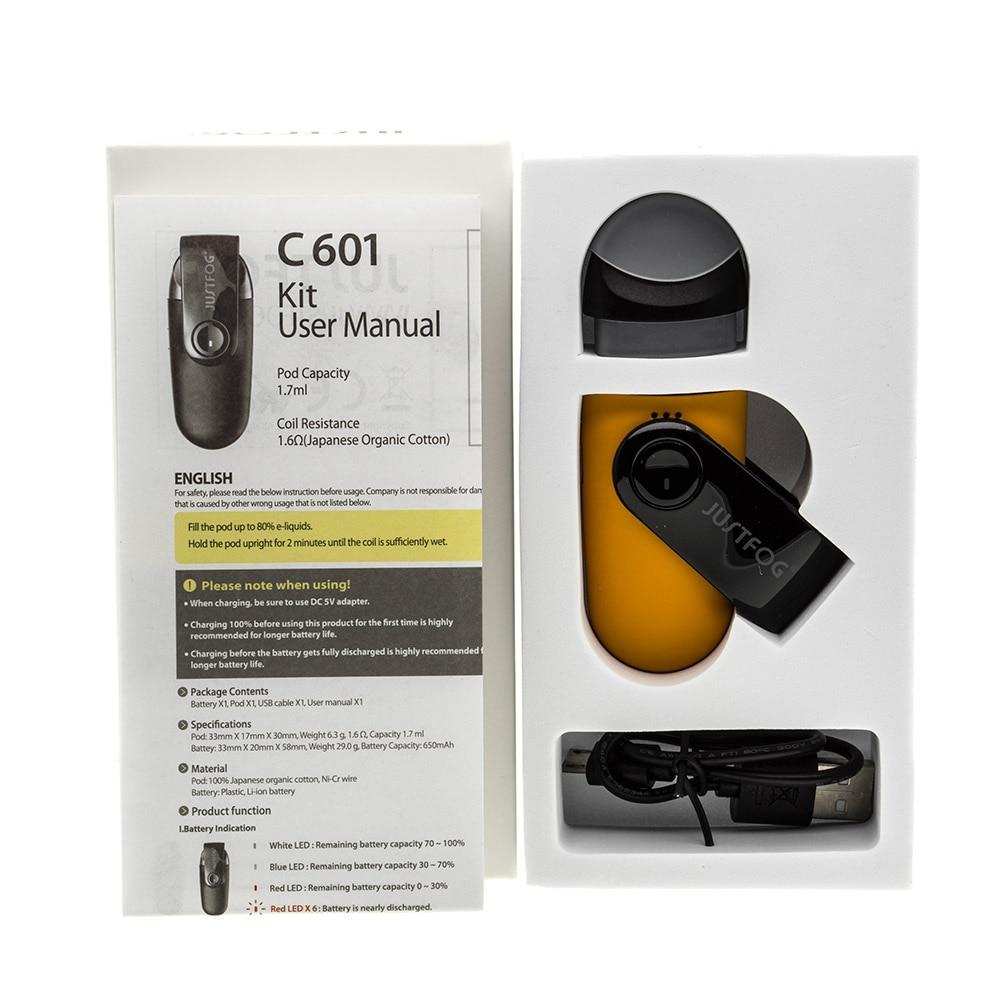 Latest E Cig Original Justfog Portable Mini Starter Kit C601 650mah Wiring Battery With Pod 17ml Vape Tank Dust Proof Cap In Electronic Cigarette Kits From