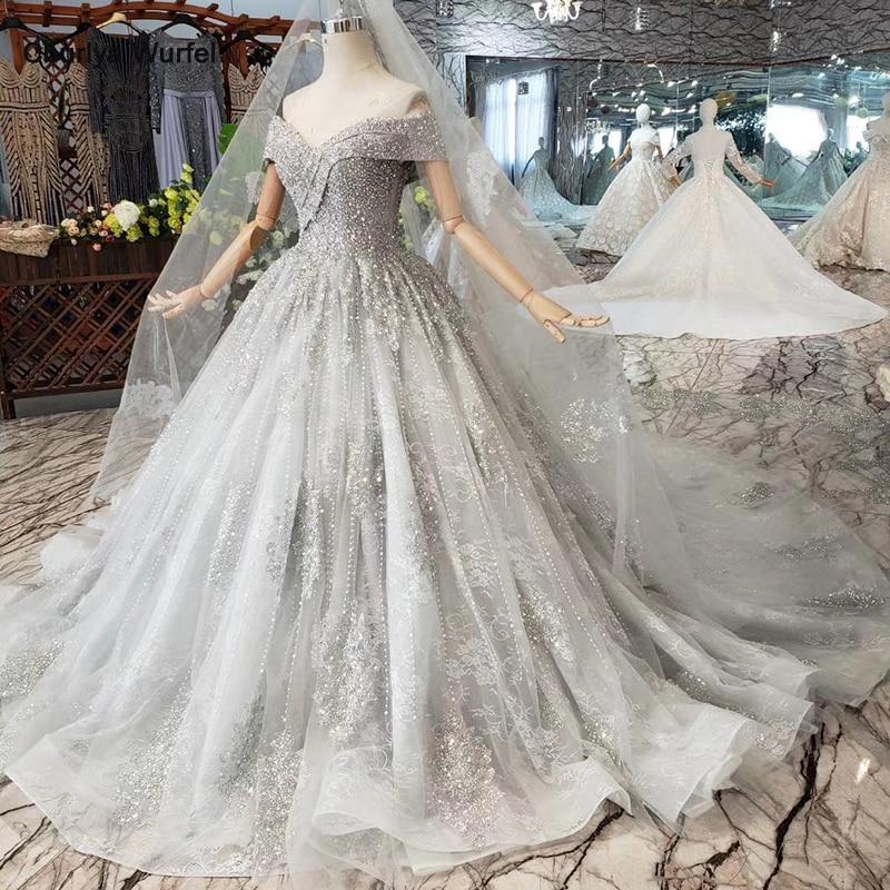 HTL819 A-line evening dresses long for women v-neck off shoulder handmade crystal grey prom dress with train promotion discount