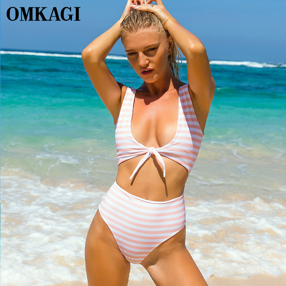OMKAGI Brand One Piece Swimsuit Swimwear Women Push Up Bodysuit Striped Swimming Bathing Suit Beachwear Summer Monokini 2017 New