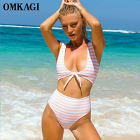 OMKAGI Brand One Piece Swimsuit Swimwear Women Push Up Bodysuit Striped Swimming Bathing Suit Beachwear Summer