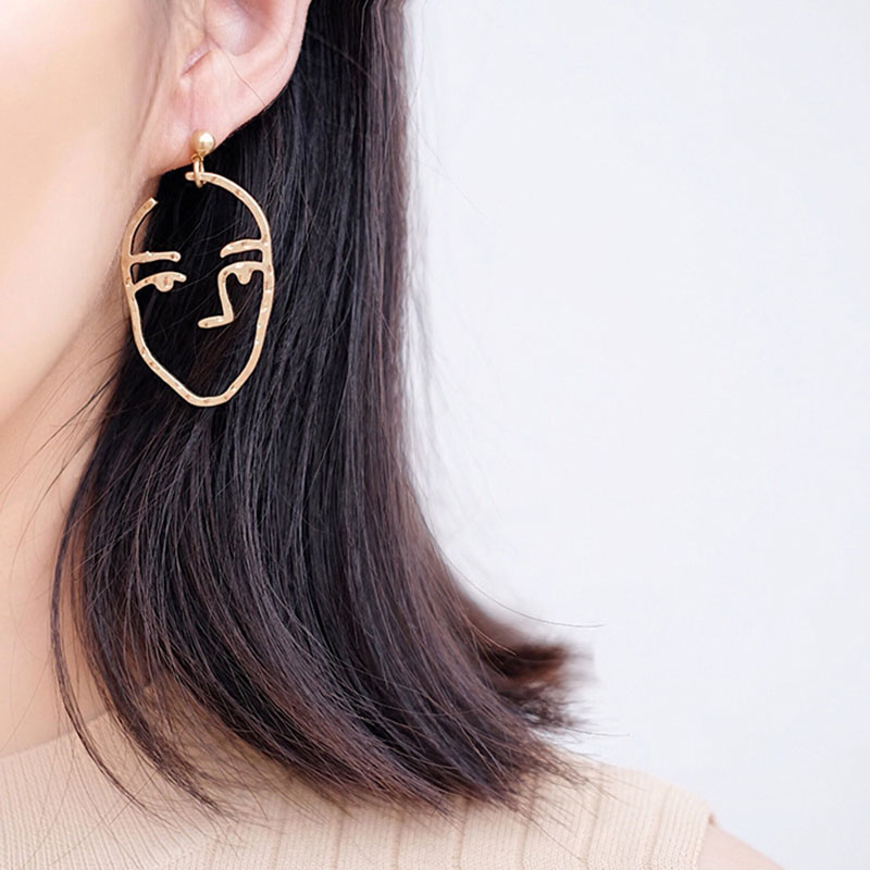 Abstract Art Drop Earrings Gold Color Face Statement ...