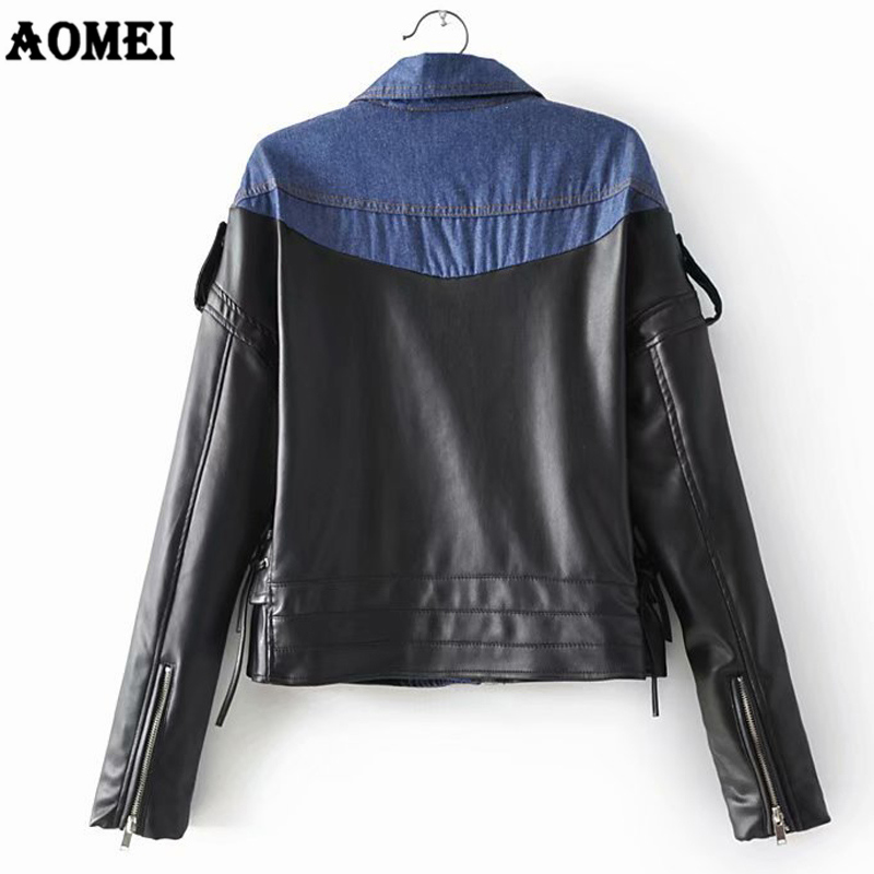 Women Soft New Black Motorcycle Patchwork Denim Leather Jackets burgundy Coats Faux Slim Female Street Pu Rivet Wear Zipper xCwI8nq