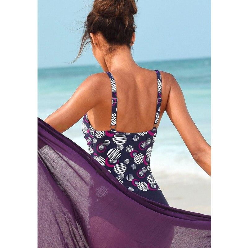Сексуальный облегающий цельный купальник в горошек, закрытый купальник с пуш-ап размера плюс, женский купальный костюм для купания, пляжный... 16