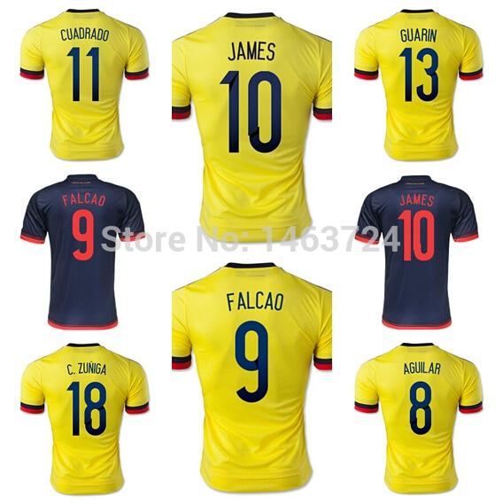 65ecf601b01 15 16 Colombia Jersey Soccer 10 James Rodriguez 9 Radamel Falcao Football  Shirt AGUILAR VALDERRAMA Juan Cuadrado Yellow Blue