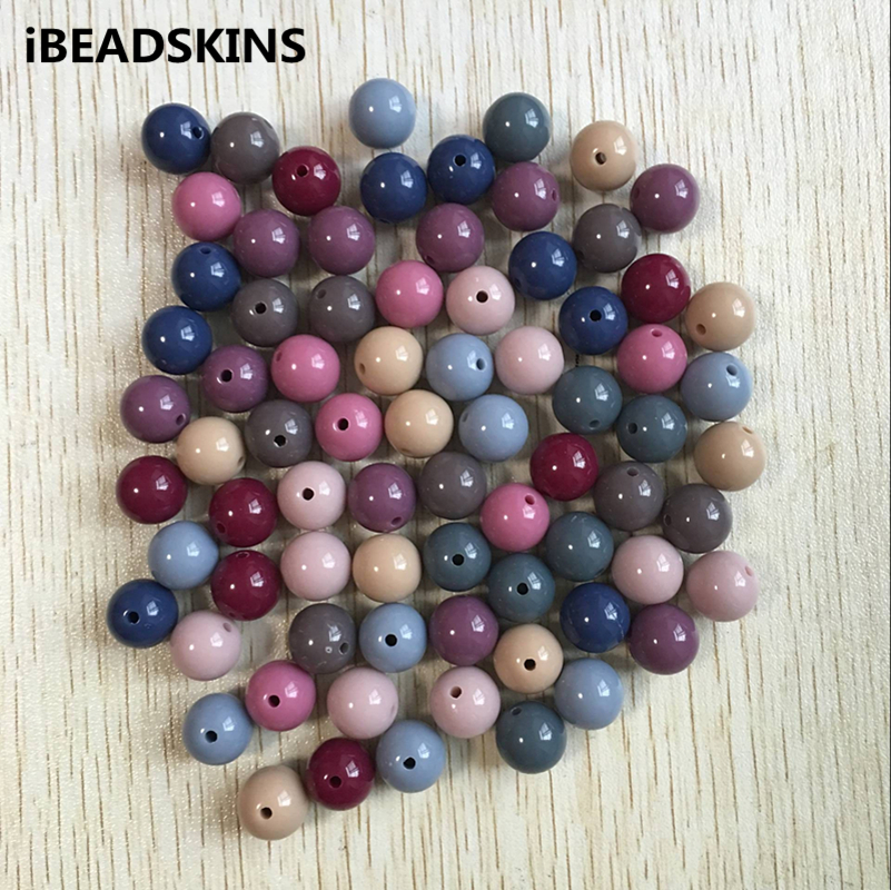 New Arrival ! (choose Size And Color) 8mm-20mm Dark Color Chunky Acrylic Solid Beads For Necklace Making