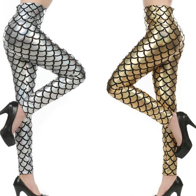 Women High Waist Leggings Simulation Mermaid Sexy Pants Digital Print Colorful Leggings Free Size