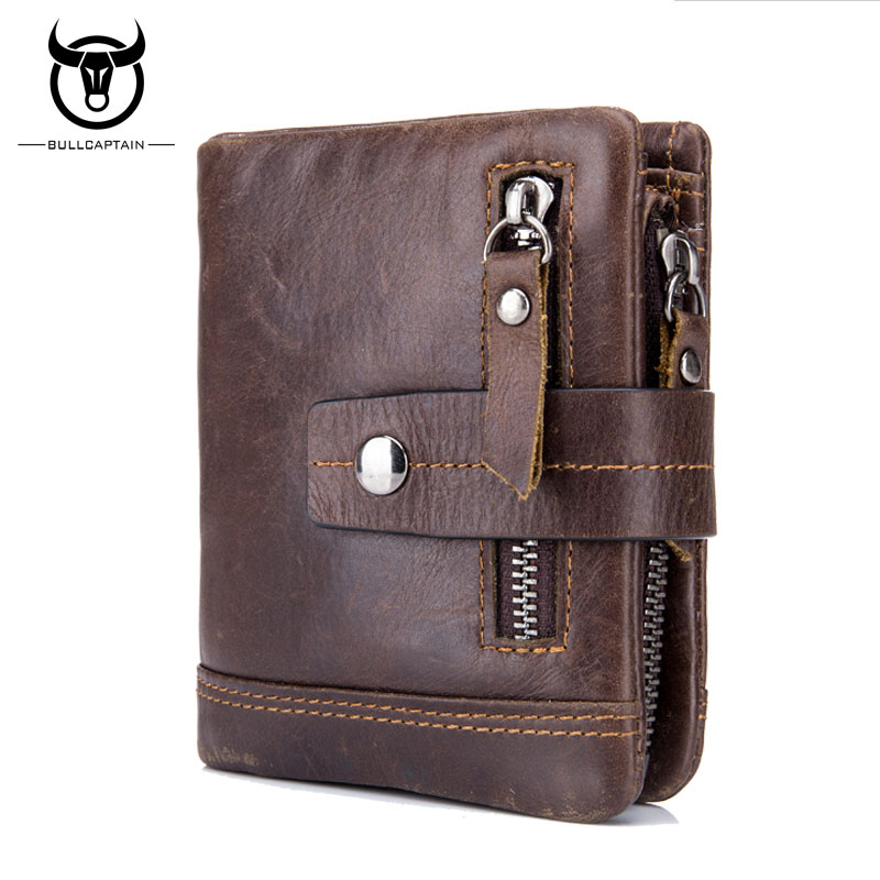 BULL CAPTAIN 2017 Genuine Leather Men's Wallet Bifold Purses Multifunction Male Purse Card ID Holder  European Style Zipper Hasp bull captain 2017 fashion genuine