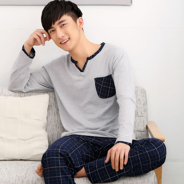 Men Pajama Sets 100% Cotton 2017 Spring and Autumn Male Sleepwear Long-Sleeve O-Neck Pullover Plaid Lounge Sleep Set