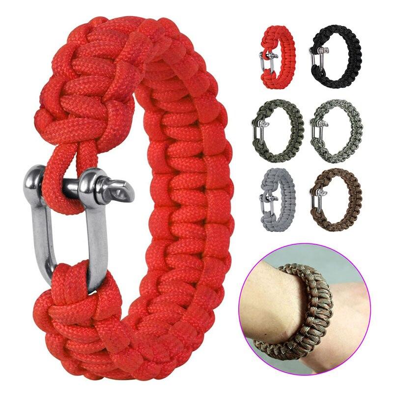 Military Survival U Shap Steel Buckle Parachute Cord Rope Woven Bracelets Outdoor Sports Security Lifeline Emergency Bangles