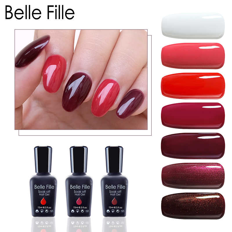 Belle Fille 15ml Gel Nail Polish For Party Makeup Soak Off Varnish Wine Red Manicure Uv Lacquer Wine Color Nail Gel Polish 1445