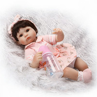 16 Inch 40 Cm Silicone Baby Reborn Dolls Lovely Knitting Wool Dress Doll Birthday Present