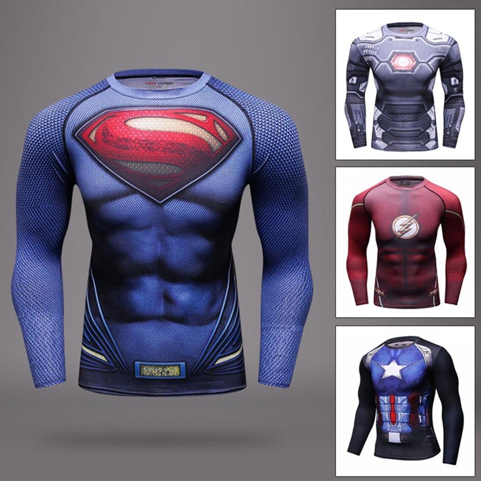 3D Captain America Muay Thai T Shirt Venom MMA Boxing Jerseys Men Rashguard Long Sleeve Fighting Martial Arts Fitness Training