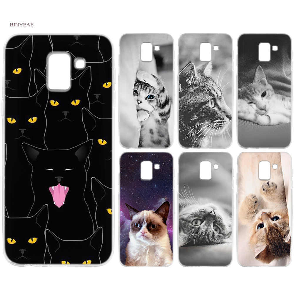 BINYEAE черный котенок кошек силиконовые чехлов из термопластичного полиуретана (TPU) на телефоны для samsung Galaxy J6 S8 S9 A6 A8 плюс J4 J8 2018 J3 J5 J7 2017 2018 чехол новый