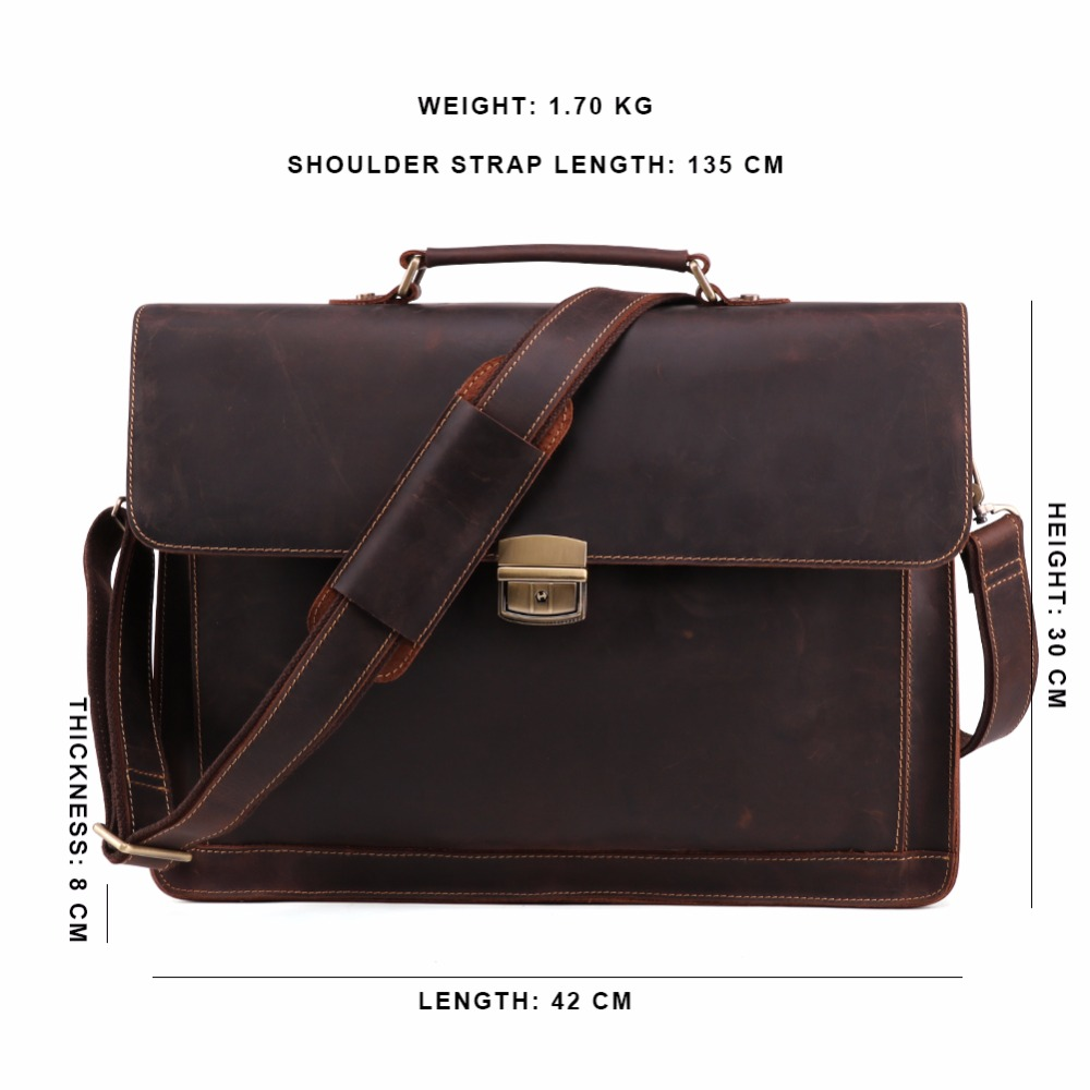 Brand Genuine Leather Men's Briefcases Vintage Laptop Bag Business High Quality male handbags Causal shoulder men messenger bags