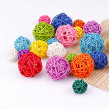 3cm/4cm/5cm 26Colors Rattan Ball Ornaments Sepak Takraw Home Christmas/Birthday Wedding Party Decorations Kids Toys Wooden Balls