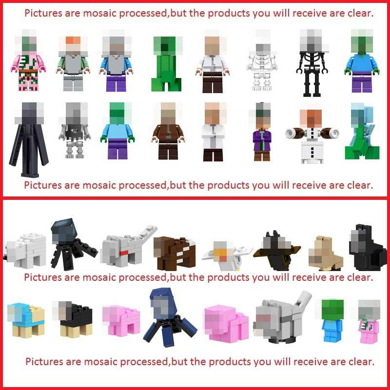 Única venda mminecrafted figuras blocos brinquedos meu mundo zombie steve bloco de construção compatível minecrafting arma brinquedo do miúdo presente