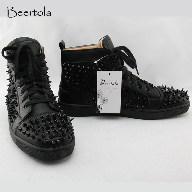 Beertola Fashion Men s Sneakers Studded Rivets Casual Black Round Toe Shoes  Man Heavy Bottom Lace Up Male Flats Zapatos Hombre 5f3eeda8ac6d
