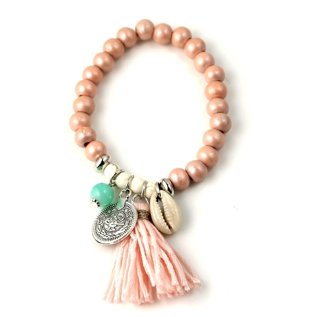 Bohemian Shell Charm Bracelet Tassel Glass Beaded Fashion Coloful Romantic Beach