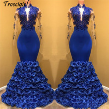 Royal Blue Lace Mermaid Long Prom Dresses 2019 High Neck Sheer Long Sleeves Tulle Applique 3D Floral Floor Length Evening Party long sleeves plunging neck sheer lace bodysuit