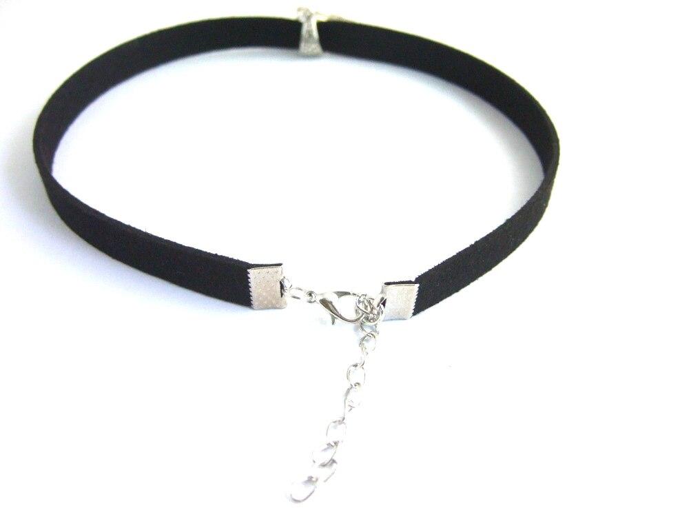 Black 10mm Flat Faux Suede Cord OM OHM AUM Symbol Yoga Charm 13 Choker Necklace 90s