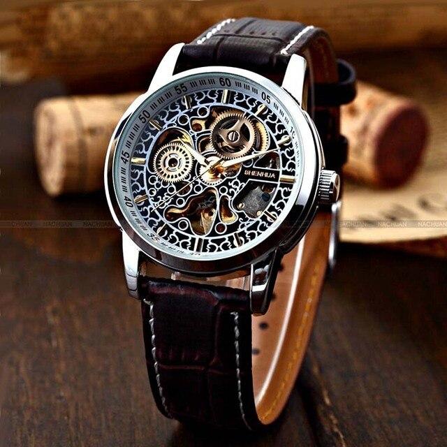 e369a5d3d5b Famosa Marca Shenhua Homens Relógio Mecânico Automático de Esqueleto  Relógios Para Homens De Couro Do Vintage