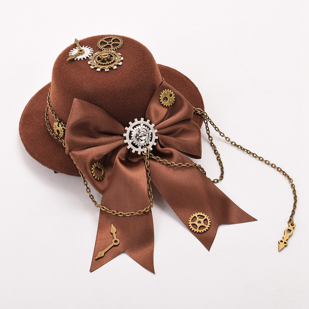 Steampunk Hair Clips for Women Vintage Lolita Gear Bow-knot Brown Mini Top Hat Hair Clip Claw Headwear
