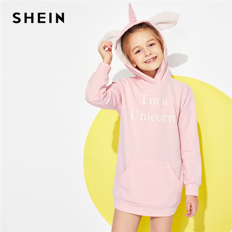 Фото SHEIN Pink Pocket Letter Print Casual Hooded Sweatshirt Girls Dress 2019 Spring Long Sleeve Mini Dress Kids Dresses For girls