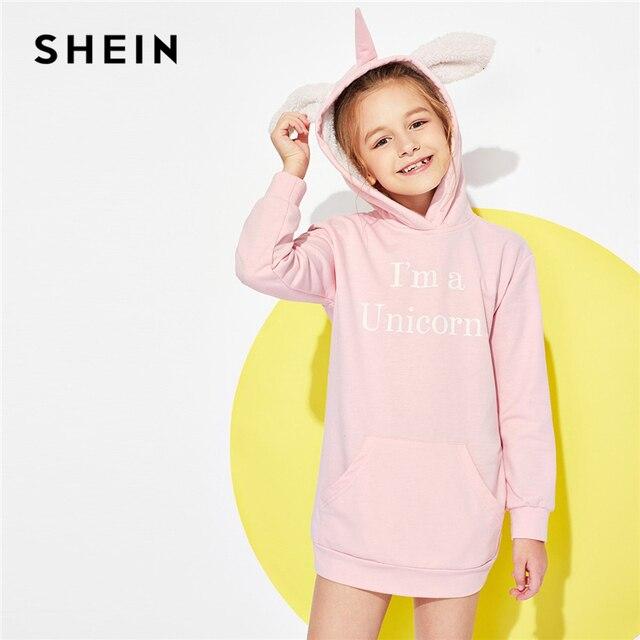 SHEIN/Розовый Повседневный свитер с капюшоном и буквенным принтом и карманами платье для девочек 2019 г. весеннее мини-платье с длинными рукавами Детские платья для девочек