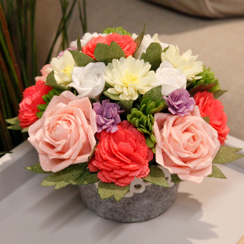 DIY Rose/Carnation Bouquet 17X20CM Flowers Potted Home Table Decoration Included 21pcs Flowers Creative Felt DIY Package