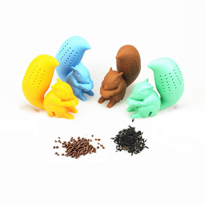 1 PC Tea Strainer Diffuser Accessories Brewing Tea Device  Reusable Silicone Herbal Spice Filter Tea Infuser Squirrel Shape