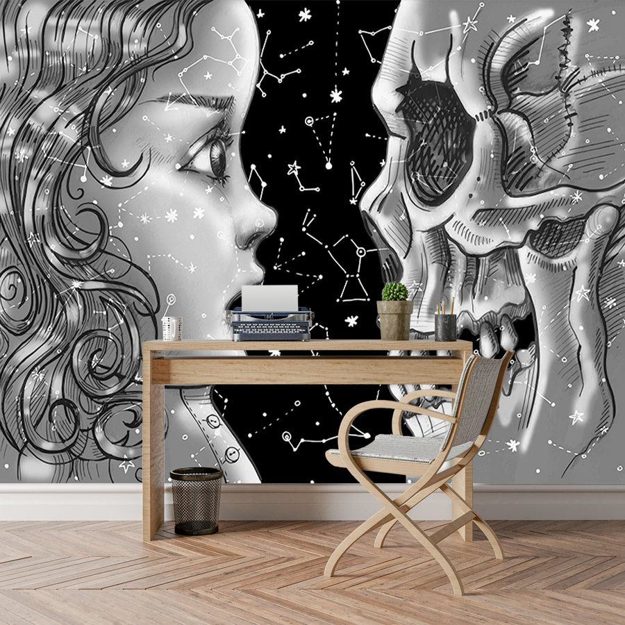 Us 13 2 45 Off Shinehome Abstract Wallpaper Black White Wallpapers For 3 D Living Room Wall Paper Girl And Death Starry Night Home Background In