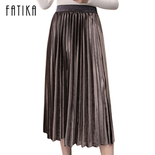 FATIKA 2017 New Fashion Women Velvet Pleated Skirt High Waist Gorgeous Skirts Autumn Winter Midi Skirts For Women
