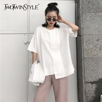 c8311f9be8 TWOTWINSTYLE Irregular T Shirt Womens Linen Patchwork O Neck Short Sleeve Japanese  T Shirt Female Summer. TWOTWINSTYLE Irregolare T Delle Donne ...