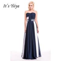 É Yiiya Azul Marinho E Branco Beading Plissado Strapless Backless Lace Up A Linha Sexy Vestidos de Festa Vestidos de Noite do baile de Finalistas do Vestido 8501