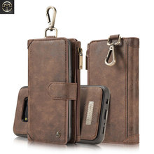 CaseMe Multifunction Genuine Leather Flip Case For Samsung Galaxy S8 Plus Case Removable Magnetic Zipper Wallet Phone Cases Hook