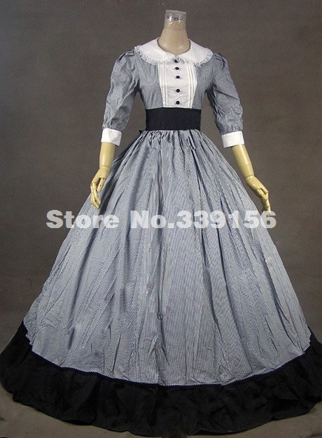 Hot Sale Gray Cotton Classic Half Sleeves Victorian Dress For Women Party