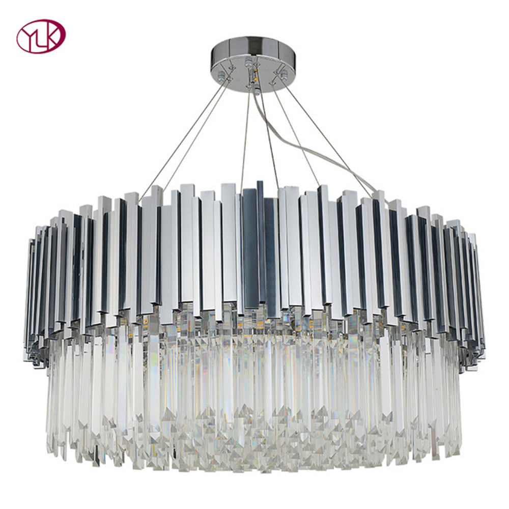Chrome modern crystal chandelier lighting in the living room luxury silver cristal lamp for dining room