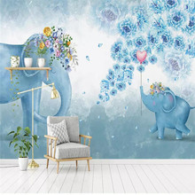 Custom mural 3D stereo hand-painted elephant flower children bedroom living room TV background wall covering wallpaper mural free shipping cartoon wallpaper children room bedroom retro wood frame background wallpaper hand painted animal mural