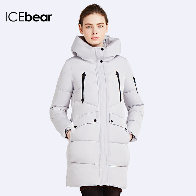 ICEbear 2016 100% Polyester Soft Fabric Bio Down Five Colors Hooded Coat Woman Clothes Winter Jacket With Pockets 16G6155
